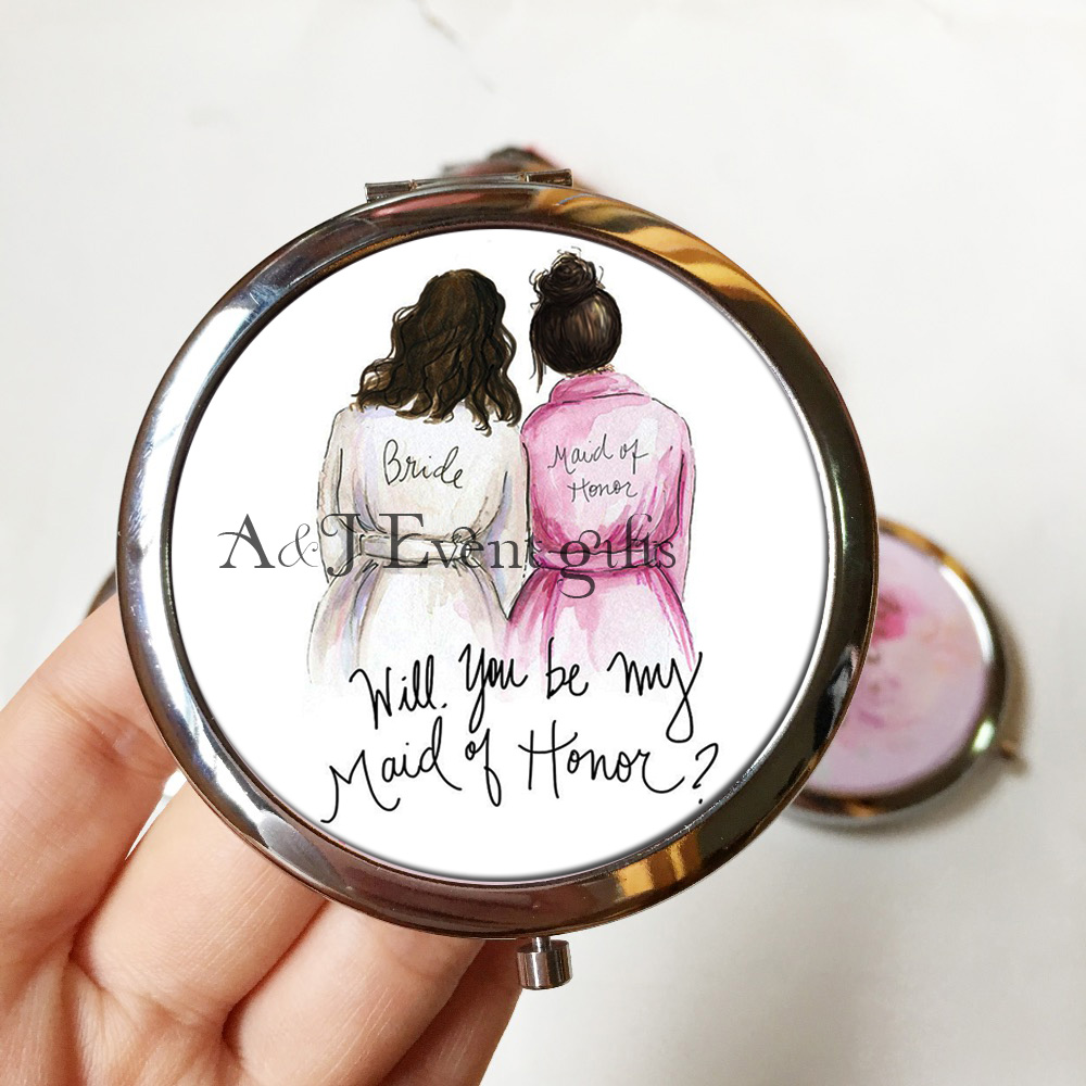 10pcs lot Creative Custom title Portable compact Mirror Wedding Proposal ideas Bridal party Maid of Honor Bridesmaid gift image