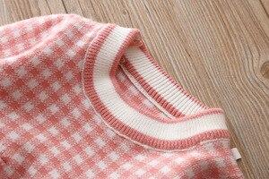 Image 4 - 女の赤ちゃんドレス秋冬ニットベビードレスチェック柄長袖クリスマス誕生日の幼児コットンベビー服