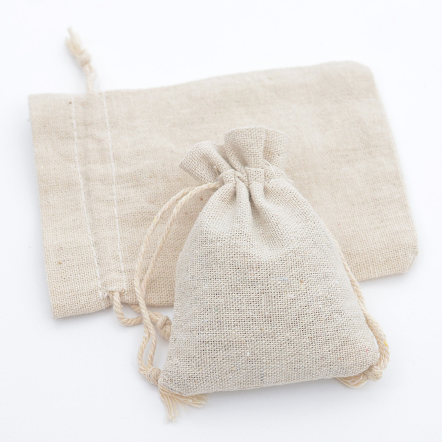 Pochettes cadeaux faites à la main en mousseline de coton   Sacs demballage à cordon, pochette de rangement pour bijoux grains de café faveurs de mariage, noël populaire rustique