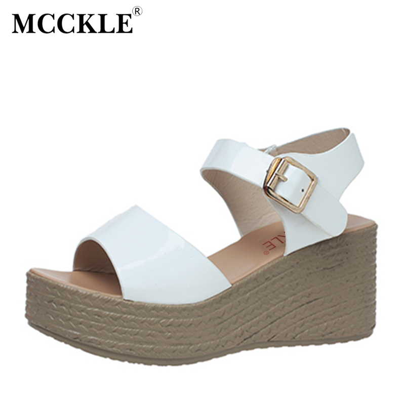 MCCKLE Fashion Women's Shoes 2017 Summer Wedges Sandals Buckle Strap Casual Shoes Woman New Open Toe Platform  Patent Leather phyanic gold silver wedges sandals 2017 new platform casual shoes woman summer buckle creepers bling flats shoes phy4040