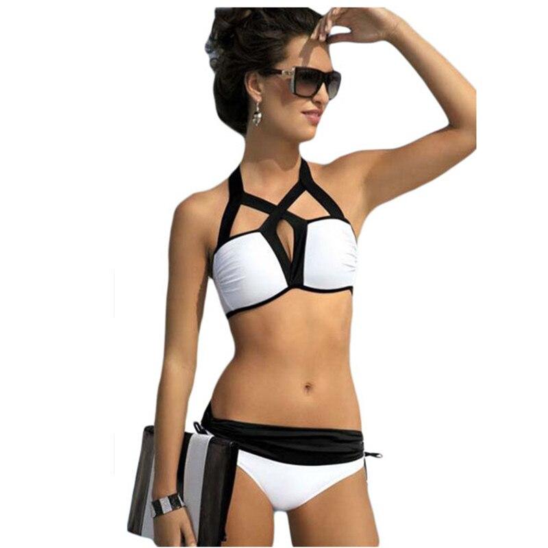 Сексуальный женский купальник размера плюс, Лето 2017, черно белый купальник с пуш ап и ремешками, комплект бикини из 2 предметов 41825