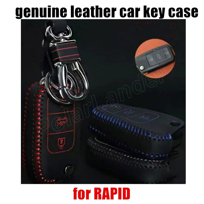 Only Red Case fit for SKODA FABIA SUPERB RAPID car styling Genuine quality leather car key case Hand sewing car key cover DIY