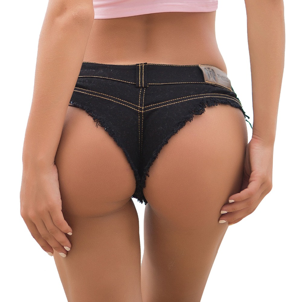 Black Sexy Plus Size Jeans Shorts Tassel Denim Booty Shorts Women Cute High Cut Thong Beach Micro Mini Short Pole Dance Clubwear