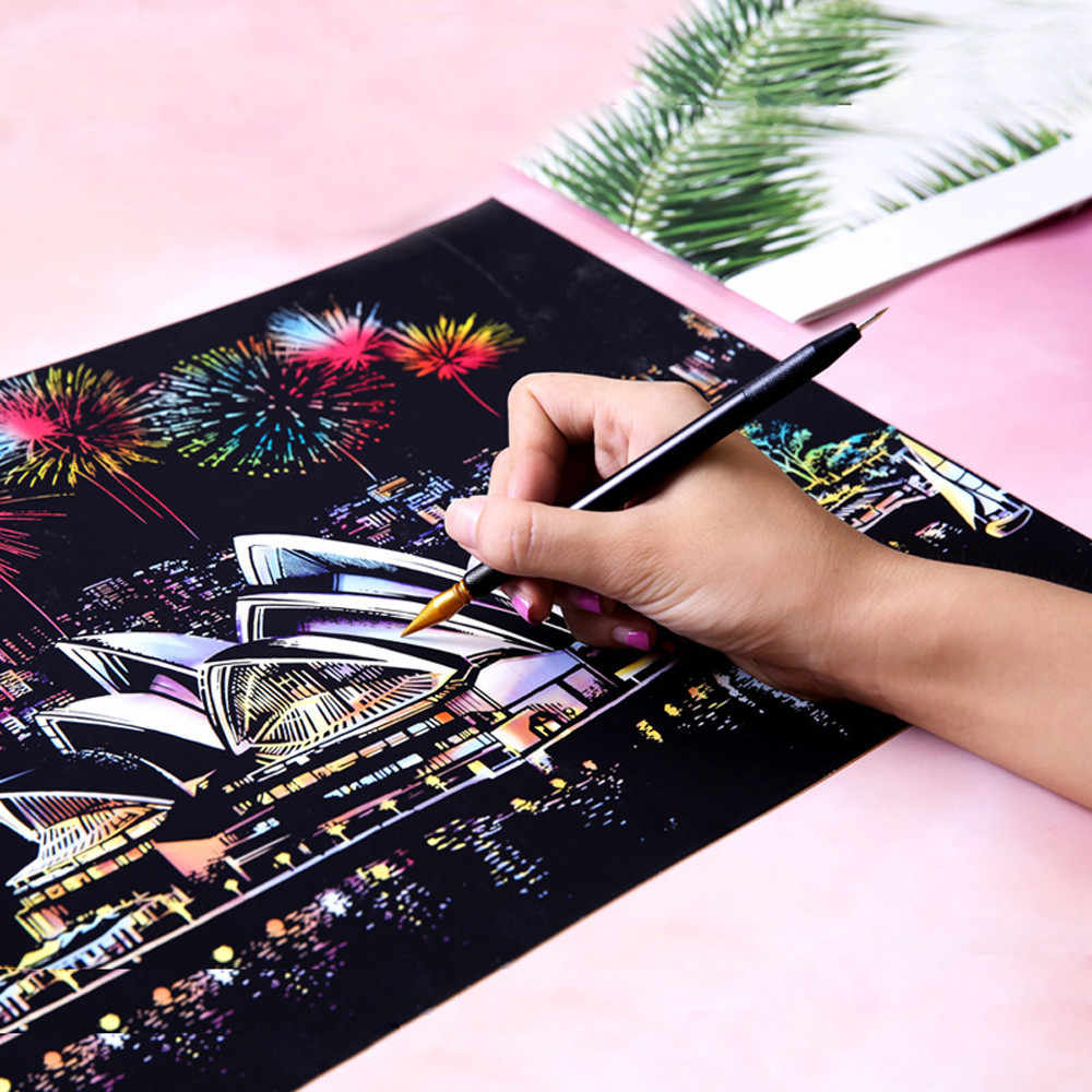 HIINST  16.1x11.3in Magic Scratch Art Painting Paper With Drawing Stick Kids Toy Painting Gift Toy Kid Drop Shipping L827