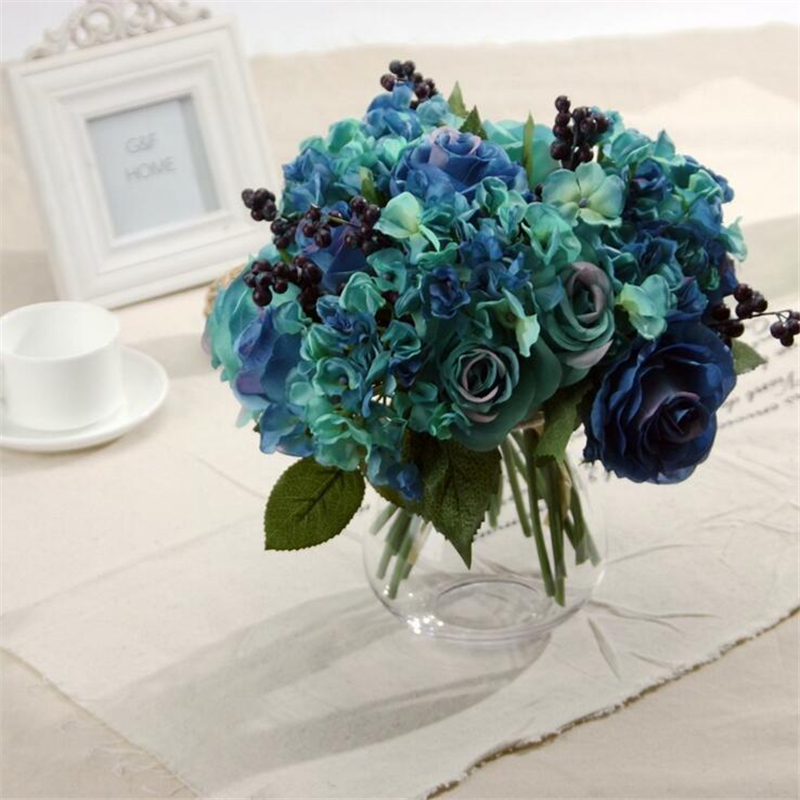 Home Decoration Artificial Blue Rose Spring Flowers Bouquet Camellia Magnolia Floral Wedding Peony Arrangement Hydrangea Decor