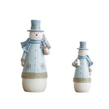 Cute Mini Snowman Figures Model Cartoon Miniatures Toy Creative Resin Crafts Figurine Gifts Home Decoration Accessories