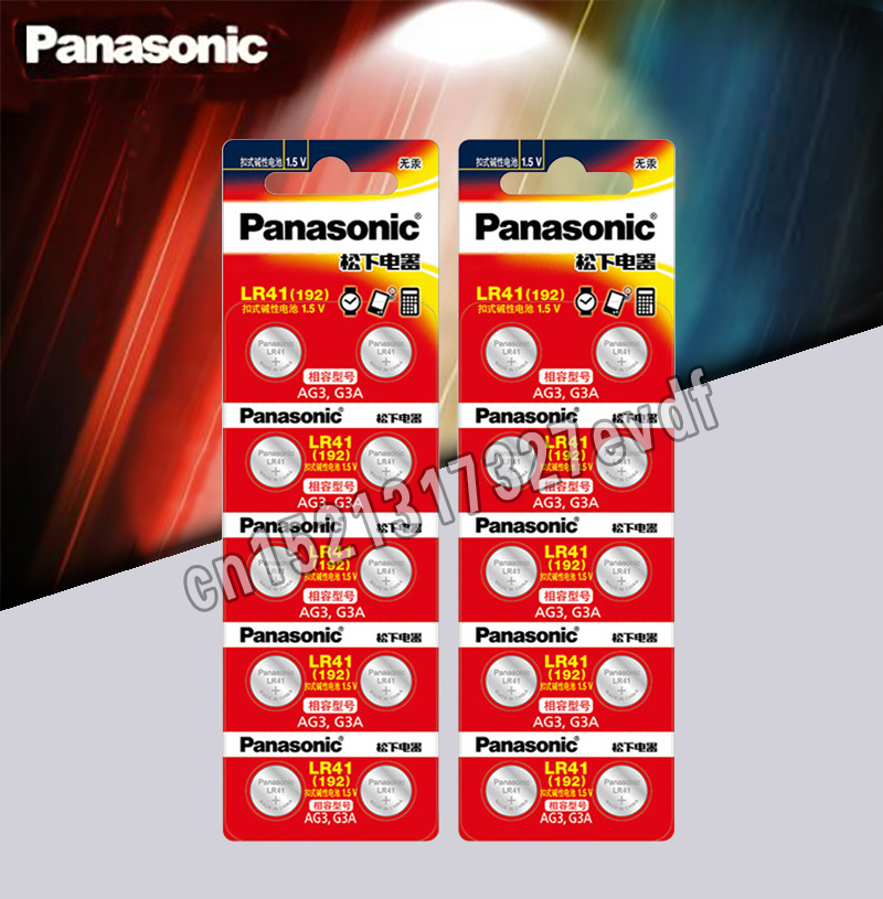 20pcs LR41 Button Cell Batteries Panasonic 100% Original SR41 AG3 G3A L736 192 392A Zn/MnO2 1.5V Lithium Coin Batteries
