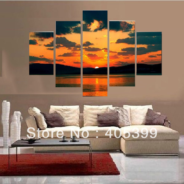 5-Pcs Sunrise Wall Art ! Real Handmade Modern Abstract Oil Painting On Canvas Wall Art ,  JYJHS012
