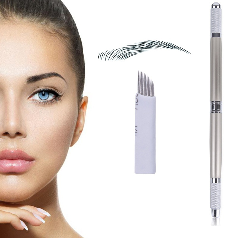 купить Biomaser 3D Eyebrow Microblading Pen Eyebrow Tattoo Machine Permanent Makeup Manual Microblading Penna with 12pins Needles недорого