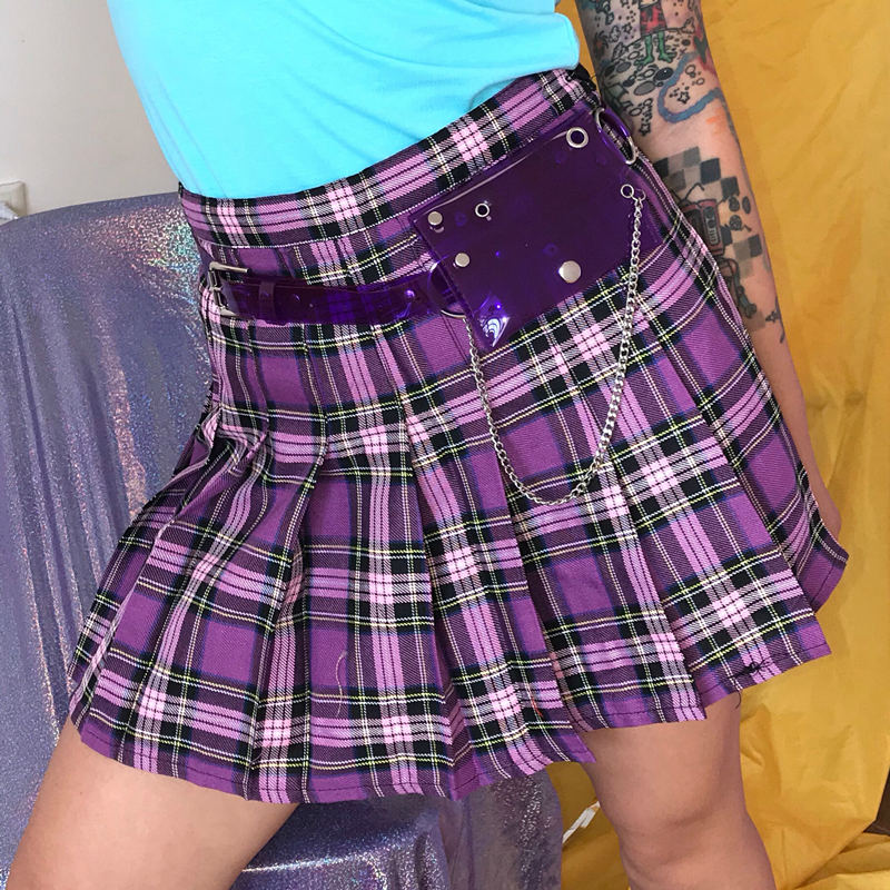 Women Purple Mini Pleated Skirt Summer High Waist Side Button Plaid Pleated Skirts Streetwear Korean Harajuku Lolita Chic Skirts