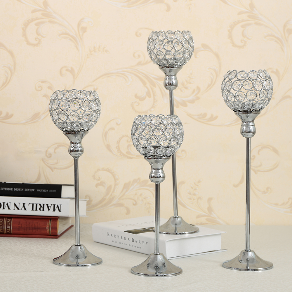 Crystal Candle Holders Set Metal Candlestick Wedding Party Candle ...