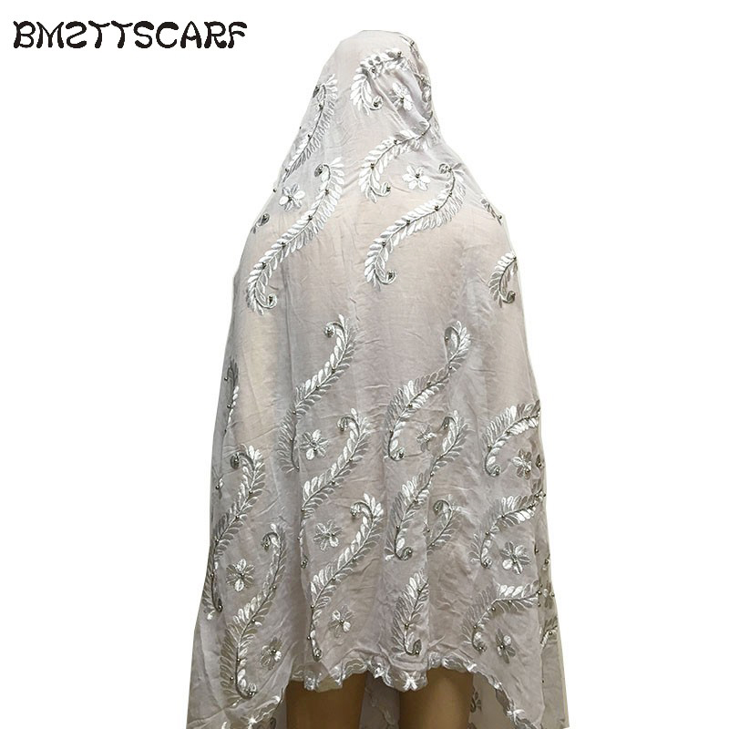 New African Scarfs Muslim Women   Scarf   100% cotton afrcian scarfs with Beads heavy cotton WHITE   scarf   shawls   wraps   BM657