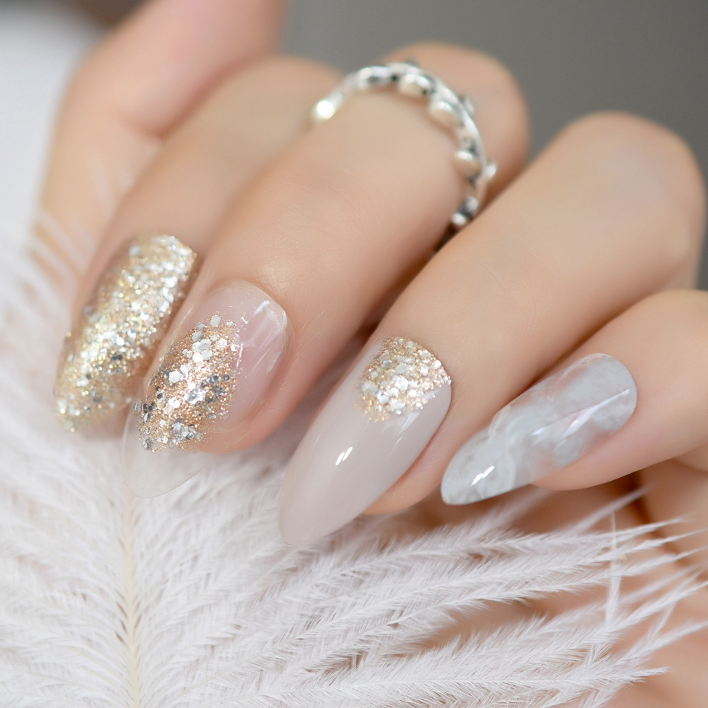 Acrylic Nails: 24 Pack Beige Artificial Nails Gold Glitter Stiletto Fake