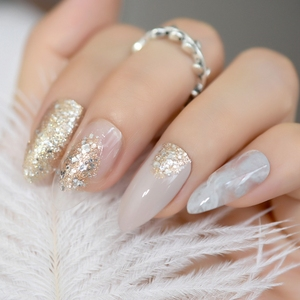 24 Pack Beige Artificial Nails Gold Glitter Stiletto Fake Nails Elegant Style Press On Nails with Glue sticker Manicure Tips(China)