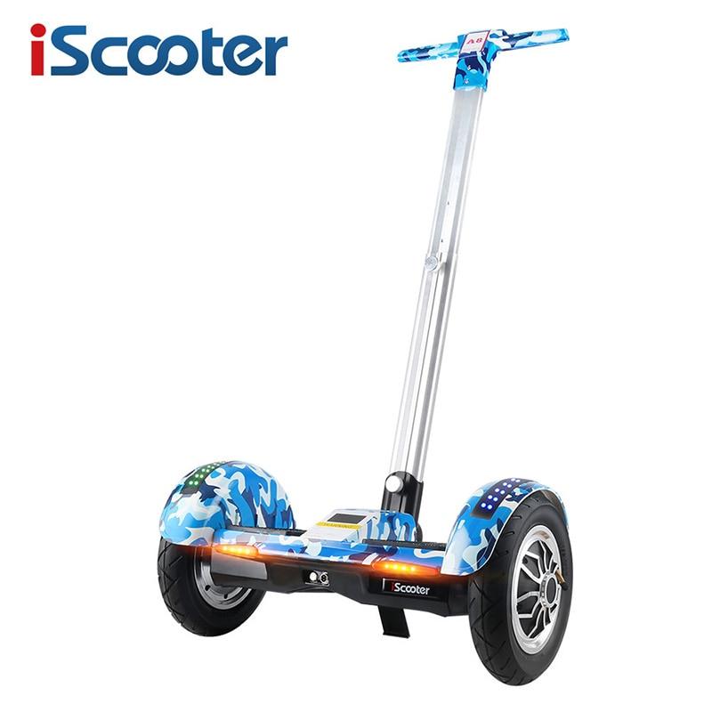 IScooter Hoverboard 10 pollice A Due Ruote di Auto Bilanciamento del Motorino Batteria Samsung Bluetooth con Manico In Piedi Equilibrio Hover bordo