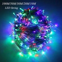 10 м 20 м 30 м 50 м 100 м светодиодная гирлянда Сказочный свет праздничное патио рождественское свадебное украшение AC220V Водонепроницаемая наружная гирлянда