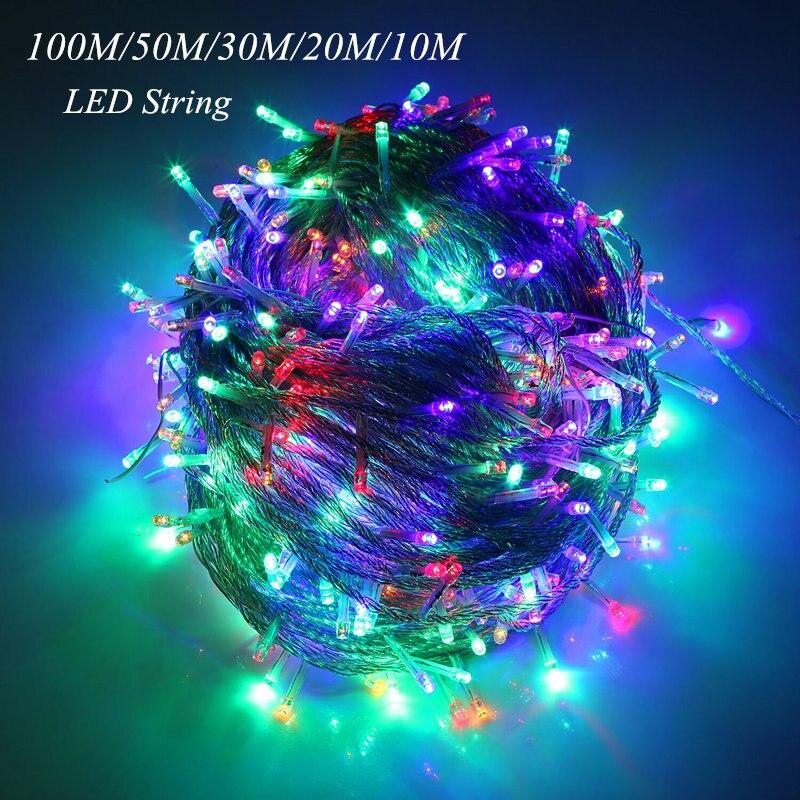 10 м 20 м 30 м 50 м 100 м светодиодный Строка Фея Света праздник патио Рождество Свадебные украшения AC220V водонепроницаемый открытый свет гирлянды ...