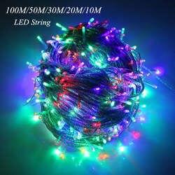 10 M 20 M 30 м 50 м 100 м светодиодный Строка Фея Света праздник патио Рождество Свадебные украшения AC220V водонепроницаемый уличный фонарь гирлянды