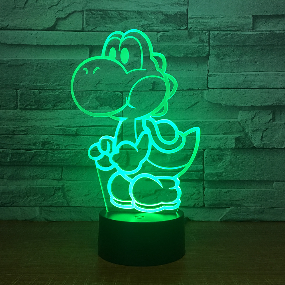Yoshi Mario 3D LED USB Lamp Cartoon Game Figure Super Acrylic Novelty Christmas Lighting Gift RGB Touch Remote Controller Toys