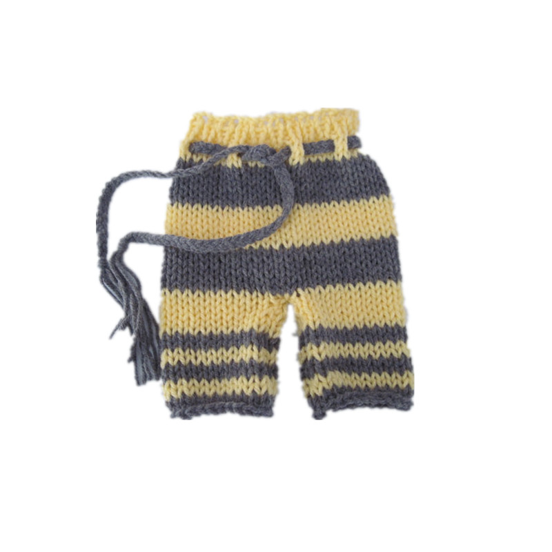Free shipping Hand made by fashion cute baby boy and girl l long tail cap newborn photography clothes pants yellow and gray suit in Clothing Sets from Mother Kids