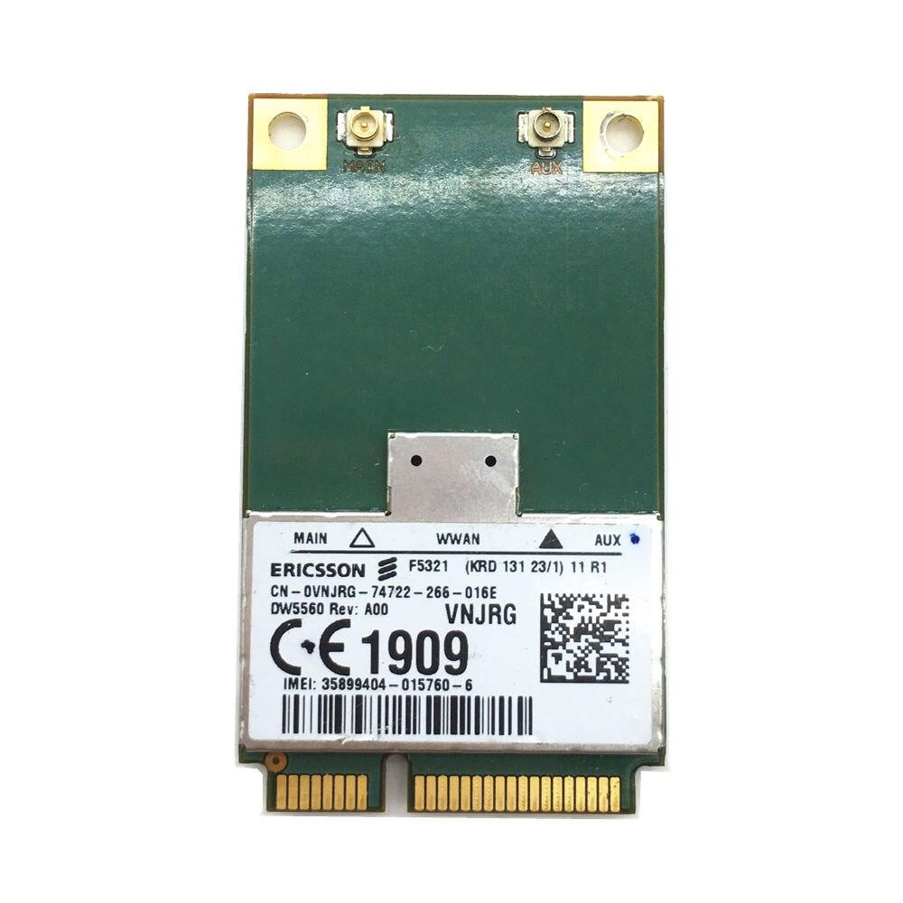 F5321gw DW5560 3 גרם WWAN MINI PCI-E כרטיס אלחוטי GSM GPRS EDGE UMTS WCDMA HSPA + 21 MB GPS מודול מחשב נייד Dell מודם