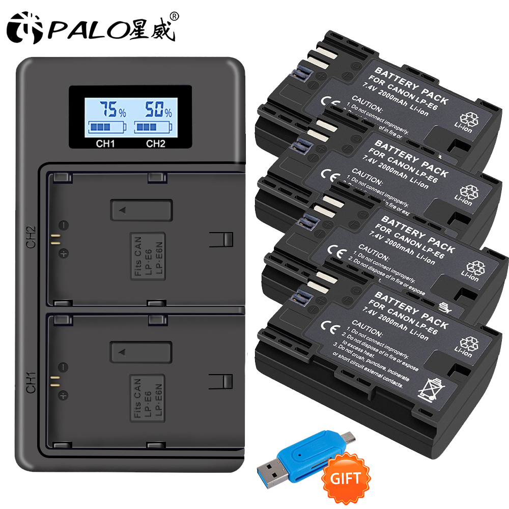 PALO LP-E6 LP-E6N LP E6 Battery+LPE6 Battery Charger For Canon EOS 6D 7D 5D Mark II III IV 60D 60Da 70D 80D 5DS R XC10 Camera