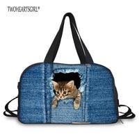 TWOHEARTSGIRL Denim Cat Dog Print Female Travel Luggage Bag Big Size Teenager Carry On Duffle Bag
