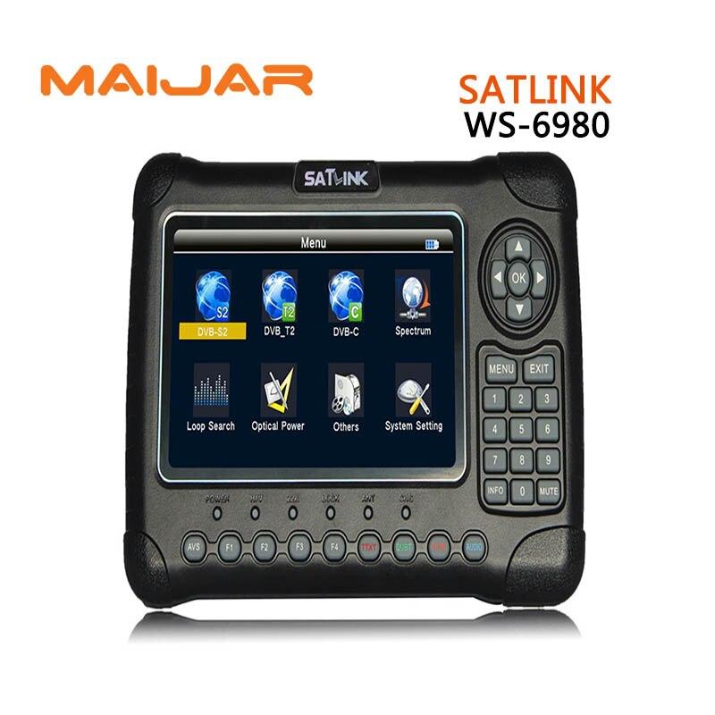 Digital Satellite Finder SATLINK WS6980 DVB S2+C+T2 Signal Finder WS 6980 7 Inch High Definition TFT LCD Screen Meter