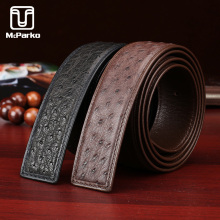 McParko Genuine Ostrich Leather Belt without buckle Luxury Brand Design Men Belts Waist 2019 New Male Gift