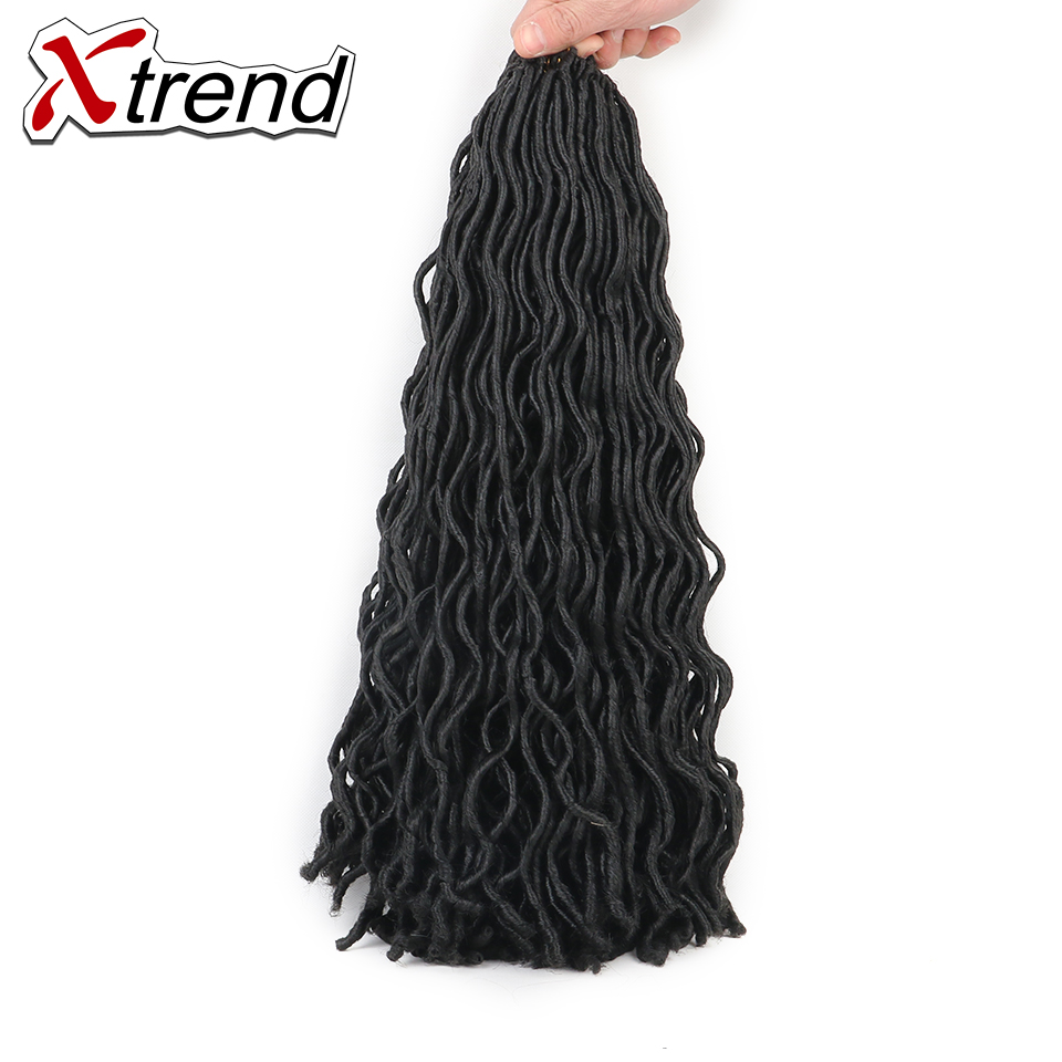 Xtrend 2x Faux Locs Crochet Braid Hair Extensions 20inch 24stands Black Brown Synthetic Kanekalon Fiber Braiding Hair 3PCS/Lot