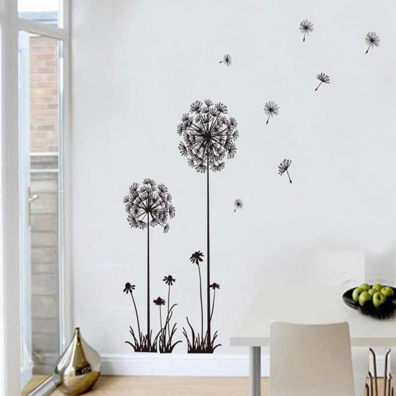 Растения черный Одуванчик гостиная спальня настенные наклейки домашний декор настенные наклейки на стену домашний декор комнаты adesivo