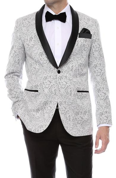 2018 Tailored White Pattern Suit Men Floral Groom Tuxedo Wedding Suits for Men Jacket 2 Piece Custom Prom Blazer Terno Masculino