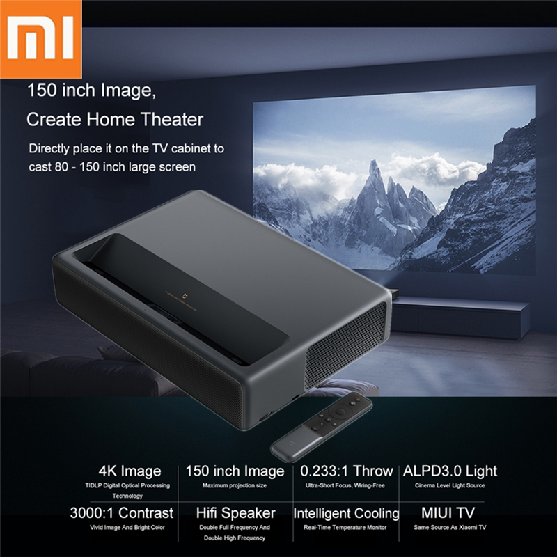 Xiaomi Mijia Laser Projector ALPD TV 4K 3840 x 2160P Proyector 2GB DDR3 16GB EMMC Flash 5000 Lumens 150 Inch Smart Home Theater