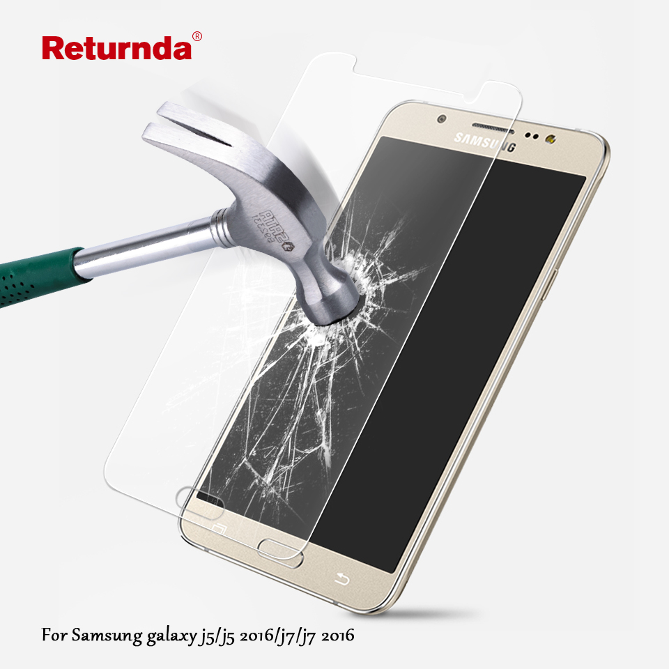 Returnda 9H 2.5D Premium Tempered Glass film for Samsung Galaxy J5 J7 j5 2016 J7 2016 HD Clear Phone Screen Protector Film