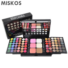 Gratis Pengiriman 78 Warna Eyeshadow Palette Set 48 Eyeshadow + 24 Lip Gloss +6 Foundation bedak / Blush Makeup Kit Kosmetik