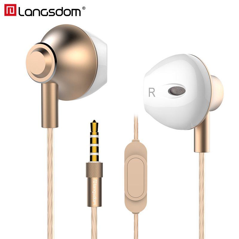 Langsdom Metal Earbuds Headphones with Mic 3.5MM Wired Stereo Headset Hifi In Ear Earphones for Phone Xiaomi Samsung Huawei remax clear metal in ear earphones with hd mic noise isolating heavy bass earbuds braided cable flat for phone huawei xiaomi