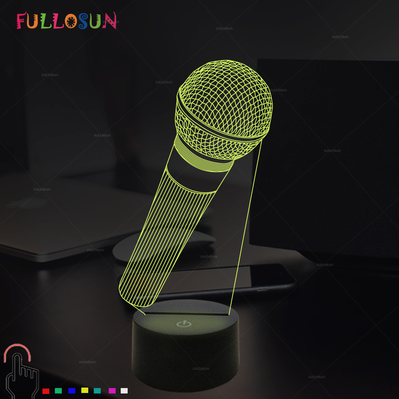 FULLOSUN 3D Visual Illusion Lamp Microphone Model LED Night Light 7 Color Night Lamp for Cafe Bar Decor Christmas Gift image