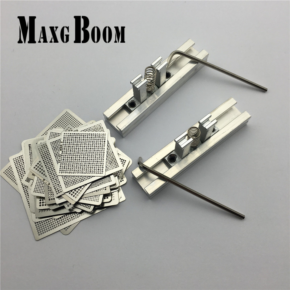 MaxgBoon 1Set 29pcs Universal Direct Heating BGA Stencils Templates + 2pcs Reballing Jig For Chip Rework Repair Soldering Kit latest laptop xbox ps3 bga 170pcs template bga kit 90mm for chip reballing