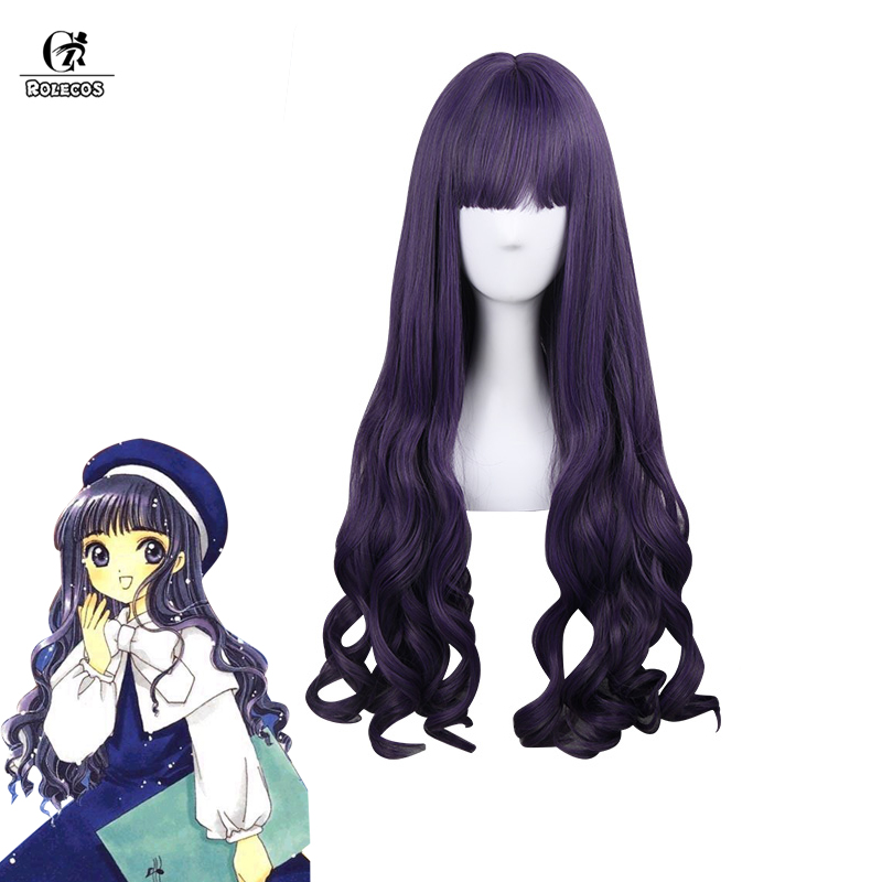 ROLECOS Cardcaptor Sakura Cosplay Headwear Tomoyo Daidoji Synthetic Hair Long Purple Wave Curly Cosplay Hair 80cm /  31.39 inch