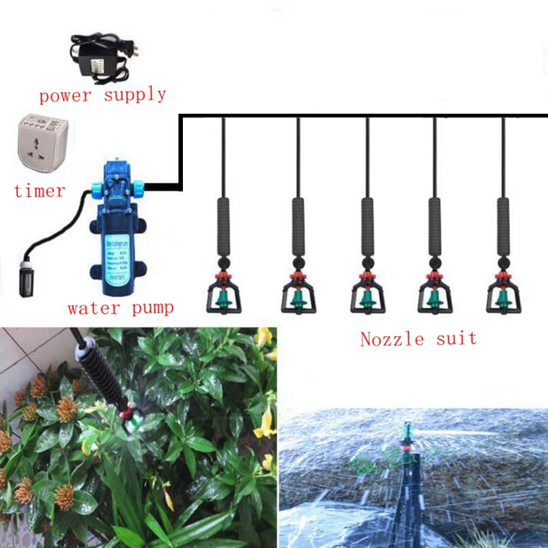 15 m 8/11mm a 4/7mm DC Pompa Sistema di Irrigazione Appeso Cospargere di Irrigazione Kit Con 8 Set Rotante Atomizzatore Ugelli Sprinkler