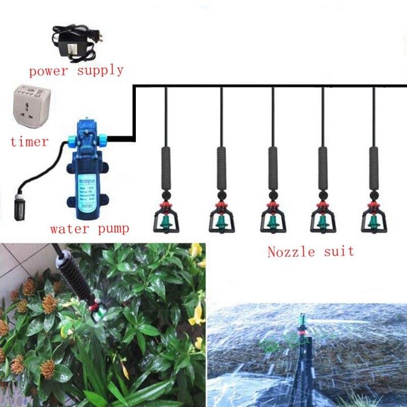 15m 8/11mm zu 4/7mm DC Pumpe Bewässerung System Hängen Beregnung Bewässerung Kit Mit 8 Sets Dreh Zerstäuber Düse Sprinkler