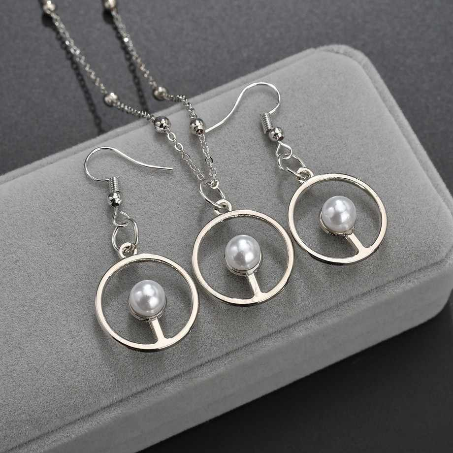 Nouvelles femmes boucles d'oreilles à la mode et collier bijoux ensemble rond avec étoiles et strass femmes bijoux femmes or mariage ensembles de bijoux