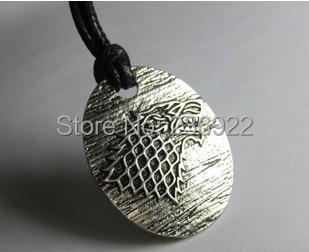 Fashion Jewelry Vintage Charm Game of Thrones Stark Pendant Necklace Ice Wolf ne