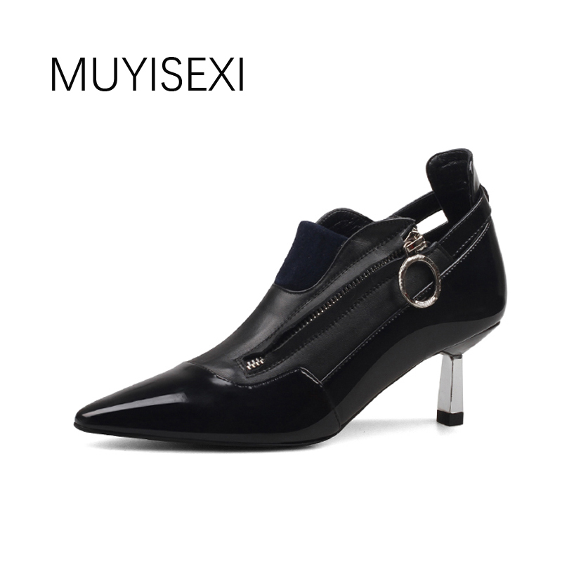 Women Shoes High Heel Black Genuine Leather Pointed Toe Metal Thin Heels Autumn Shoes for Women Women Pumps HL46 MUYISEXI 2015 autumn korean style pointed shoes with thin heels original glass double peach heart design shoes leather shoes