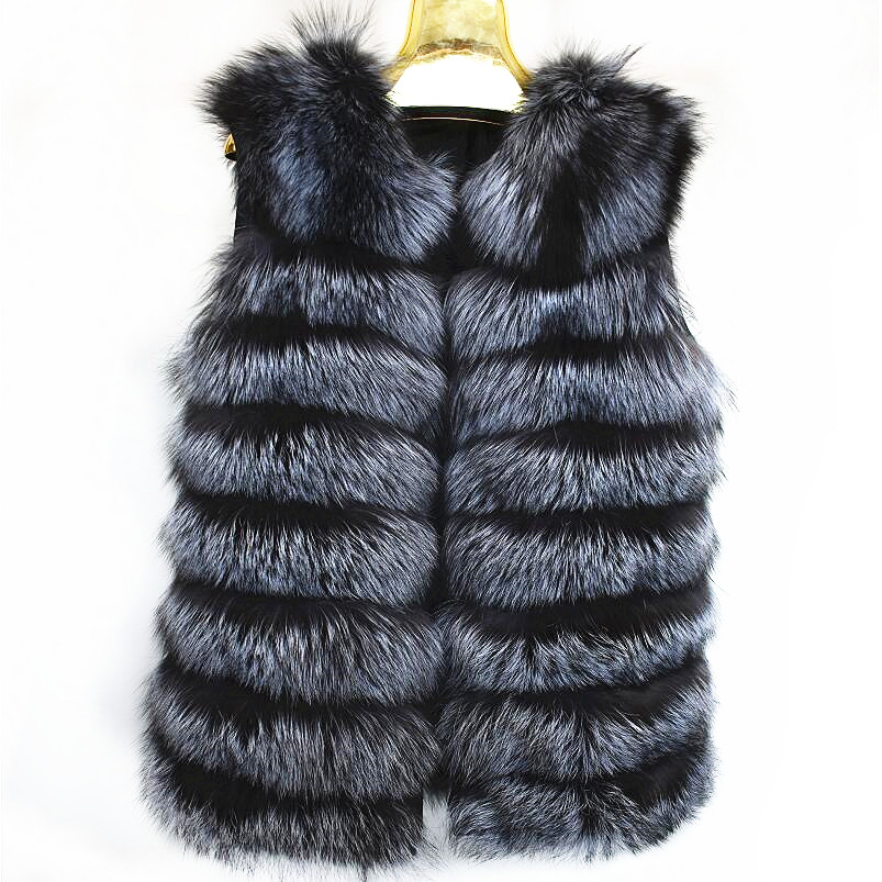 2019 Fur Animal Skin Natural Fox Silver Fox Ladies Vest Animal Fur Fashion Warm Thick Thick Beautiful