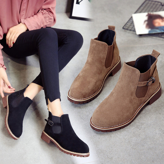 Çizmeler Kadın Yuvarlak Ayak Ayakkabı Düz Patik Toka Kayış Süet Düz Renk Martin Çizmeler Açık PU Deri Kış kadın ayakkabısı Sep #