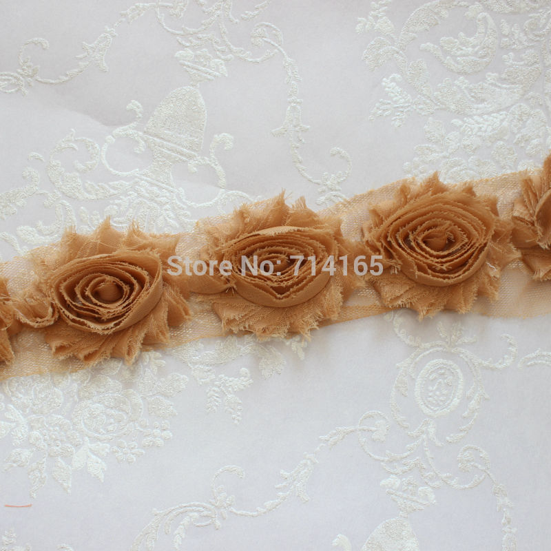 1 Yard Camel Chiffon Flower Shabby flower Trim rose flower trim for hai flower headband clothes