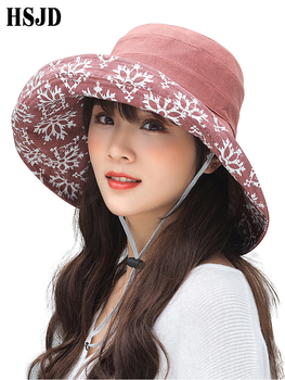 bucket hat women spring panama cap sun summer beach wide brim climbing holiday outdoor accessory Summer Women Snowflake Double-sided Linen Cotton Sun Hats Panama Female Foldable Bucket Cap Large Wide Brim Anti-UV Beach Hat