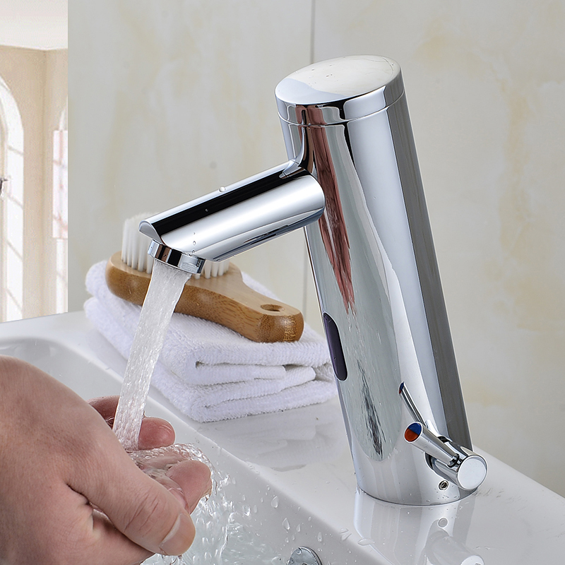 Bathroom Faucet Water Saving Taps Chrome Touchless Hot and Cold Mixer Tap Fully-automatic Faucet infrared Sensor Faucet 8802 water saving hands free brass hot and cold automatic infrared sensor faucet for bathroom deck mounted touchless sensor tap