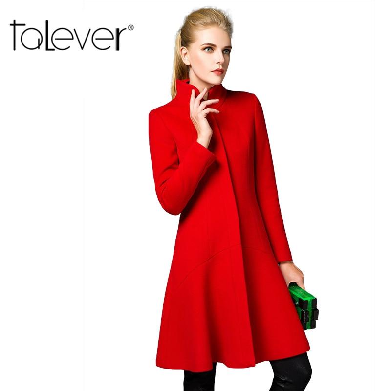 2016 Fashion Women Trench Wool Coat Winter Slim Long Mandarin Collar Overcoat Red Black Coats Long
